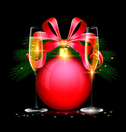 dark festive background with the large red ball and couple glasses of wine Illustration