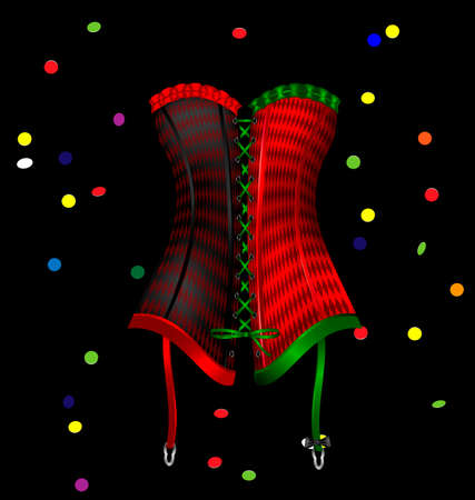red corset: dark background and the large red green black carnival corset of New Year, carnival confetti