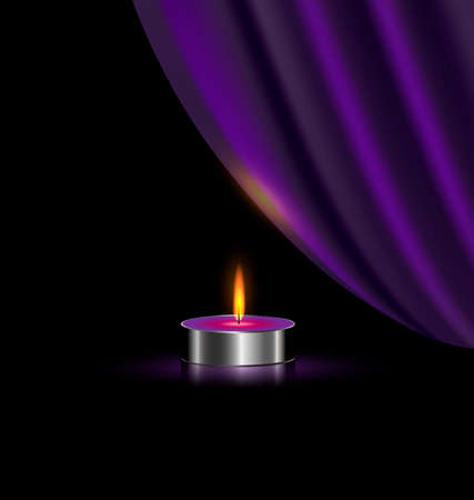 black background and the small burning candle with purple drape-veil