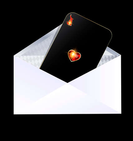 orthogonal: dark background and the white envelope with black card of red golden ace inside Illustration