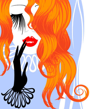 mode: white blue background with abstract outlines of the womans red haired head and the hand in the black glove Illustration
