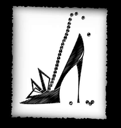 heel: dark background, black pencils, sheet of white paper and the image of abstract womans shoe