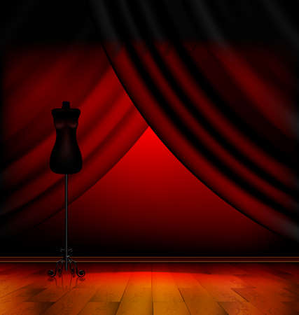 dark empty red room with drape and the black abstract dummy