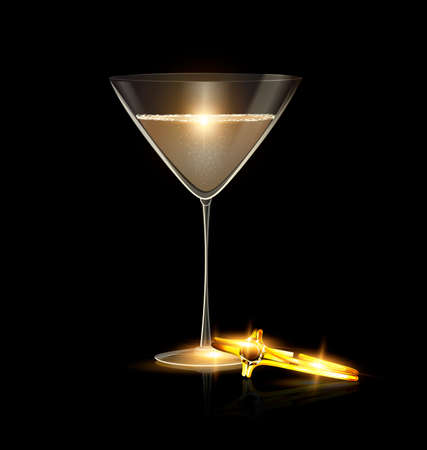 dark black background and the large glass of champagne or white wine with the yellow jewel braselet