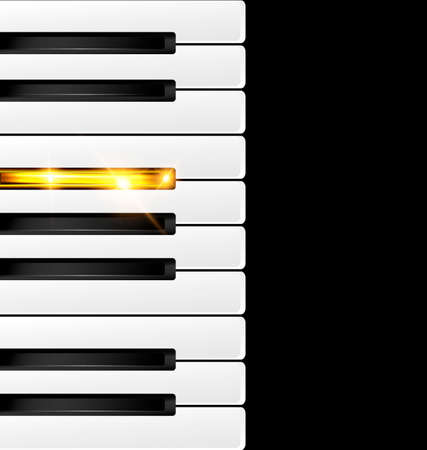 ivories: black background and abstract black-white and golden piano keys