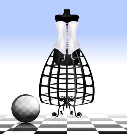 old times: white blue empty place with the black abstract dummy in the corset and the ball Illustration
