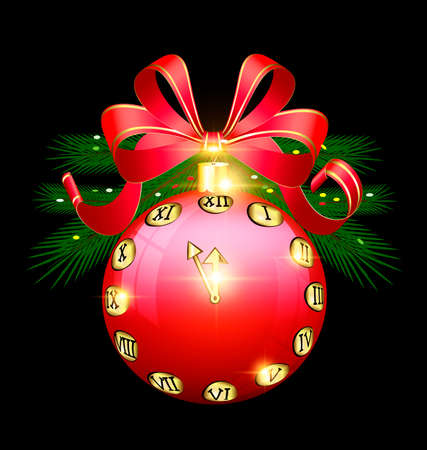 black background with the large red ball and abstract golden clock inside Illustration
