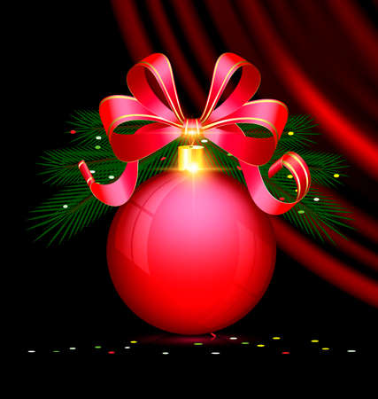black background, dark crimson drape and the large red ball with branch of tree and bow