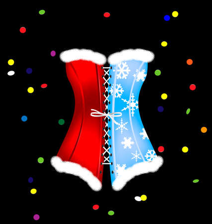 red corset: dark background and the large red blue white black carnival corset of New Year, colored confetti
