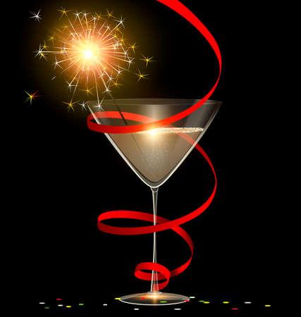 encendedores: fondo oscuro y la copa de champán con bengala quema dentro, la burocracia y confeti Vectores