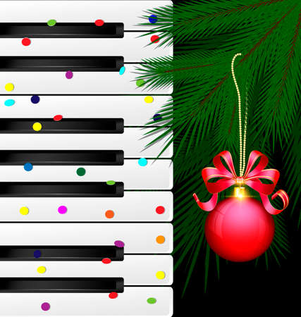 dark background, abstract large music keys, confetti and the green branch of the big tree with the red decorative ball