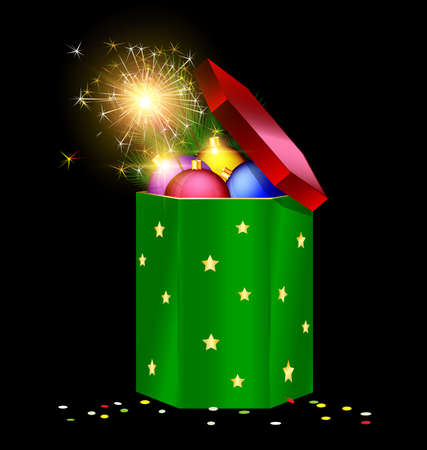 ight: black background, the large red green gift box with decorative colored balls, branch of tree and festive fire