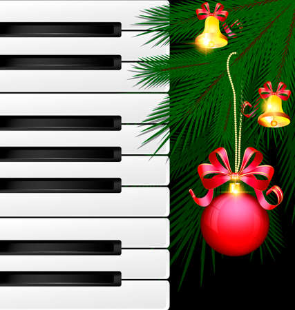 dark background, abstract large music keys and the green branch of the big tree with the red decorative ball and golden bells