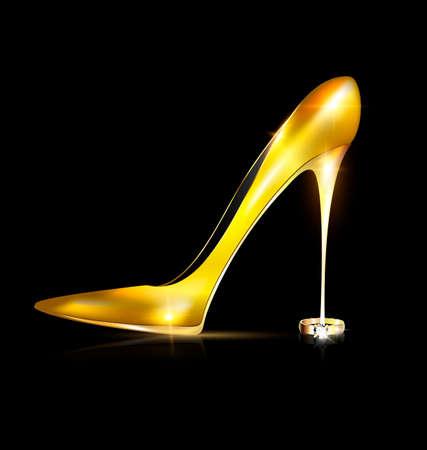 donkere achtergrond en de ladys gouden gele schoen met de juweelring Vector Illustratie