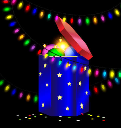 black background and the large blue red gift box with decorative balls inside, colored light garland Illustration