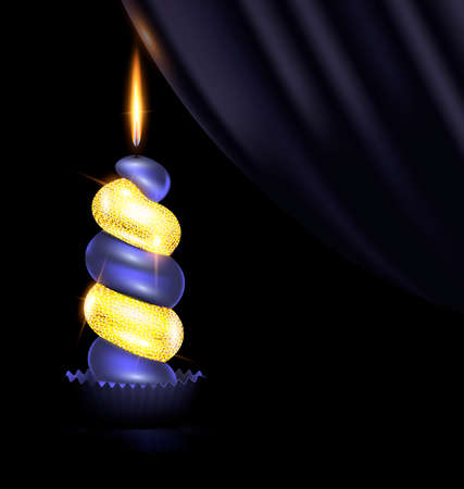 black background, dark drape and the large colored burning candle