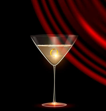 black background and the large glass of champagne with golden jewel ring inside, dark red drape Illustration