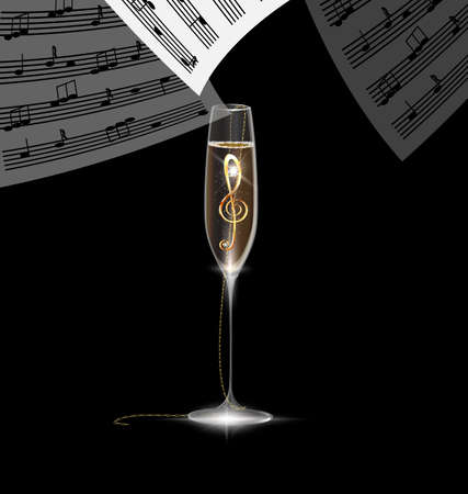black background and the large glass of champagne with golden jewel treble clef inside, falling sheet of paper with notes