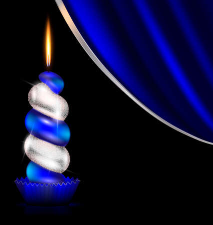 black background, dark blue drape and the large colored burning candle