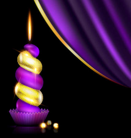 wax glossy: black background, dark purple drape and the large colored burning candle