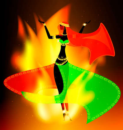 dark background with flame and abstract dancing oriental girl Illustration