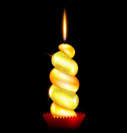 black background and the large yellow burning candle Ilustração