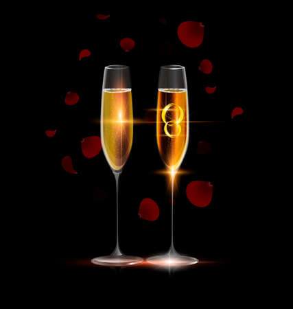 adamant: black background and two glasses of champagne with couple of golden jewel rings inside, red falling petals