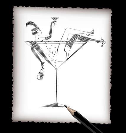 siluetas de mujeres: Lápiz y la imagen de la señora bebiendo