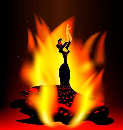 flaming flamenco dance Illustration
