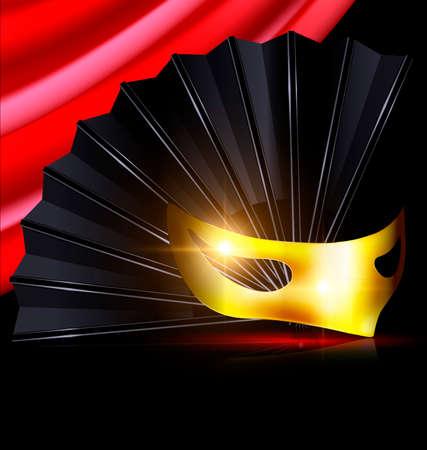 mummers: black fan and yellow mask Illustration