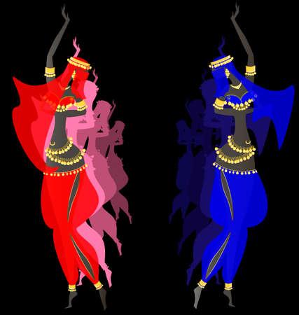 eastern dancing girls Illustration