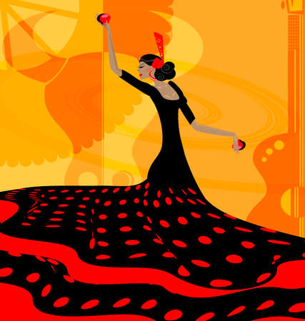 danseuse flamenco: abstraite femme rouge-noir et flamenco Illustration