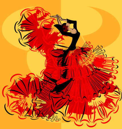 tänzerinnen: abstract yellow image of flamenco Illustration