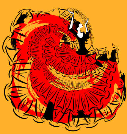 flamenco dancer: Abstract red-yellow image of flamenco