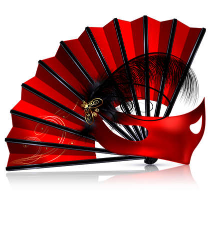 Red fan and mask with feathers.