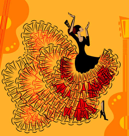 abstract red-yellow music of flamenco Illustration