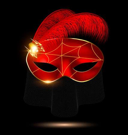 zwart-karmozijn half masker