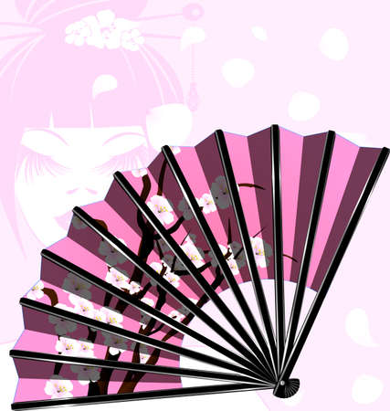old times: pink fan and face Illustration