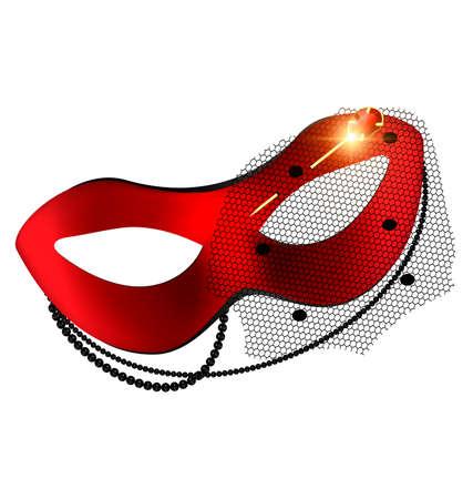 carnaval rode half-masker en gouden speld