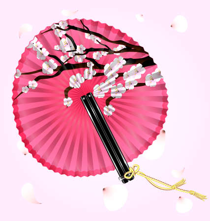 old times: pink fan and flying blossom Illustration