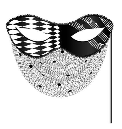 abstract wit zwart masker en sluier Stock Illustratie