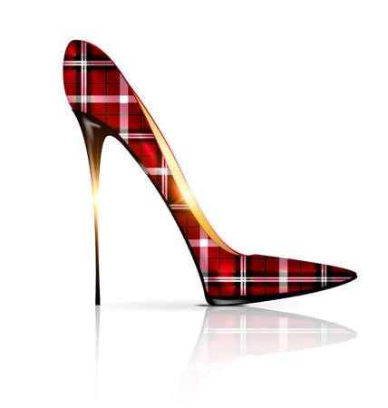 vermeil: white and plaid shoe