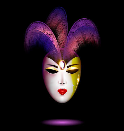 purple-white mask with feathers