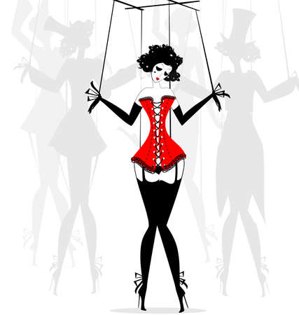 black and white fantasy of hand girl-puppet in the red corset Ilustração