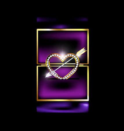 diamond stones: abstract box with jewelry heart and arrow