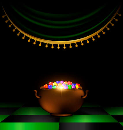 A pot of gems in the dark.
