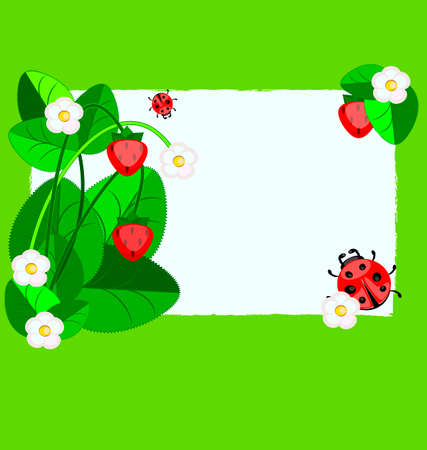 weave: small paper, strawberry and ladybug Illustration
