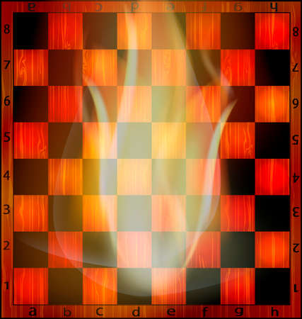 abstract empty wooden chessboard and fire inside Illustration