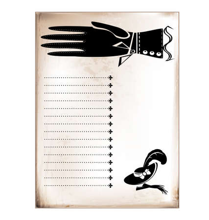 indicate: vintage card female hand Illustration