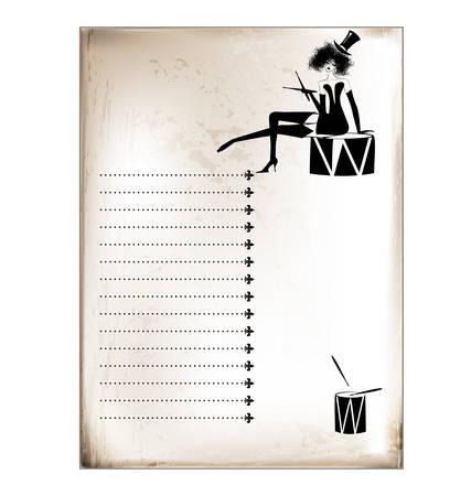 ladys: vintage card girl and drums